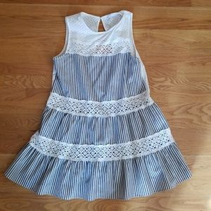 Grey vertical striped dress with lace detail